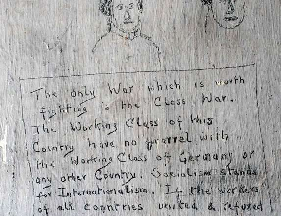Graffiti from imprisioned First World War conscientious objector held in the cell block at Richmond Castle.